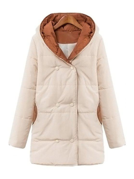 outfit Color Block Hooded Long Sleeve Coat - WHITE L