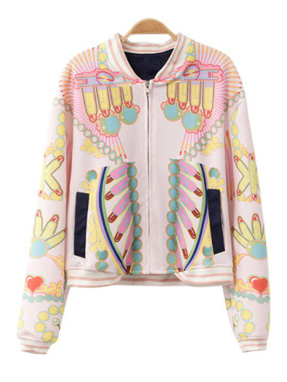 shops Print Long Sleeve Stand Collar Jacket - COLORMIX S