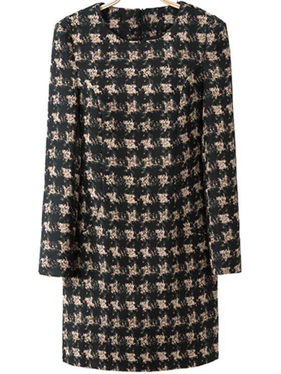shops Houndstooth Pattern Long Sleeve Dress - BLACK S