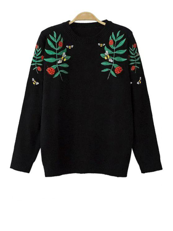 latest Floral Embroidery Long Sleeve Sweater - BLACK S