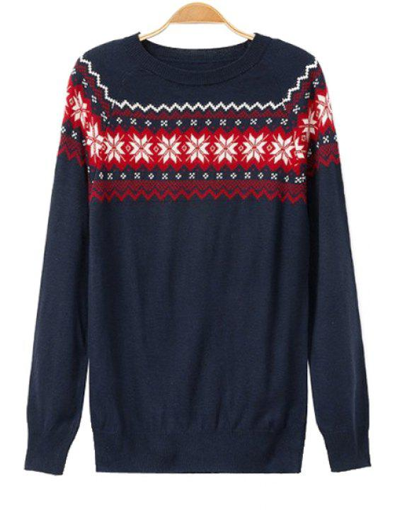 sale Snowflake Pattern Long Sleeve Sweater - CADETBLUE ONE SIZE(FIT SIZE XS TO M)