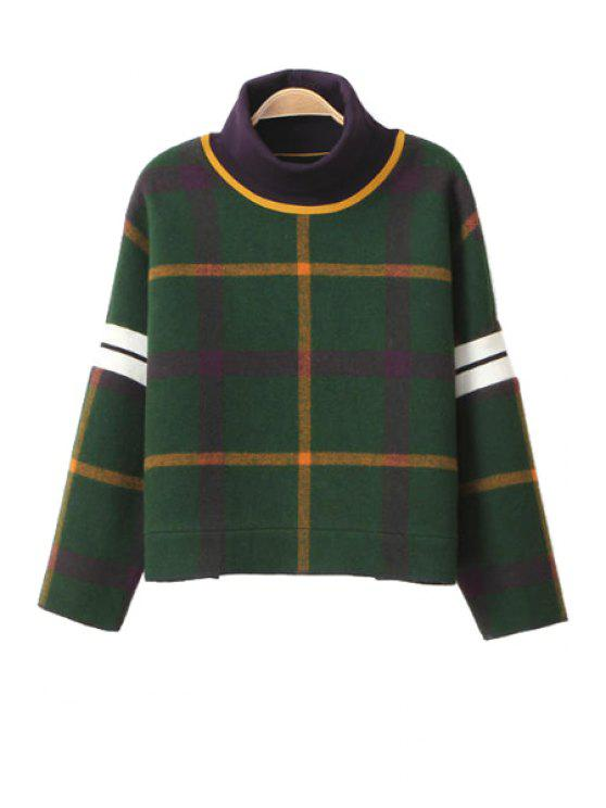 new Plaid Turtle Neck Long Sleeve Sweatshirt - GREEN S