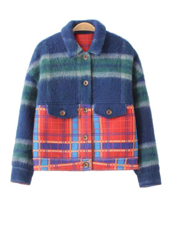 fashion Plaid Turn-Down Collar Long Sleeve Jacket - COLORMIX XS