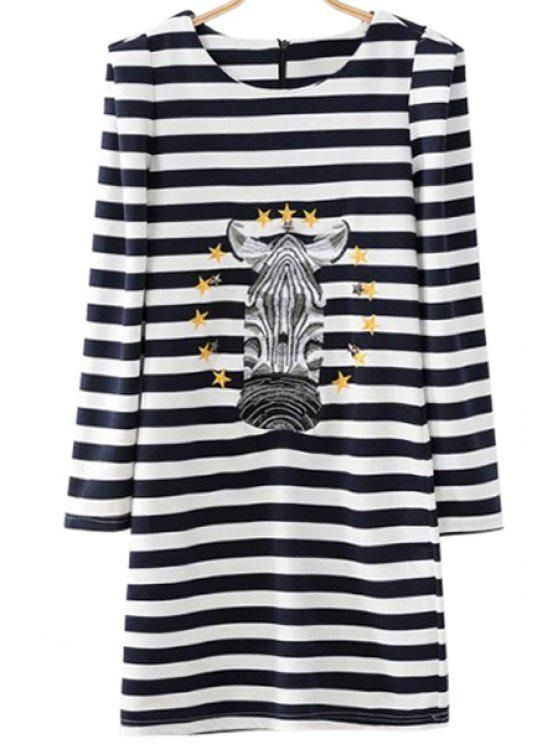 chic Striped Long Sleeve Embroidery Dress - STRIPE S