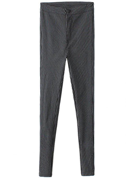 shops Striped Narrow Feet Flocking Pants - BLACK S