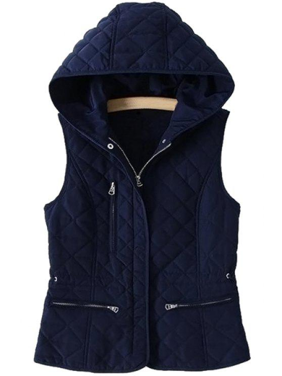 unique Solid Color Hooded Sleeveless Waistcoat - CADETBLUE S