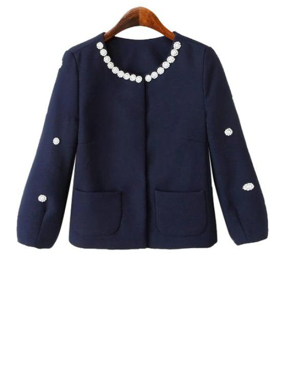 latest Solid Color Nine-Minute Sleeve Beaded Coat - PURPLISH BLUE L