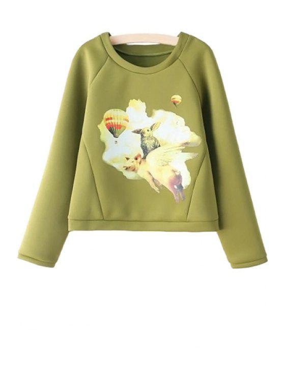 outfits Animal Print Long Sleeve Sweatshirt - GREEN S