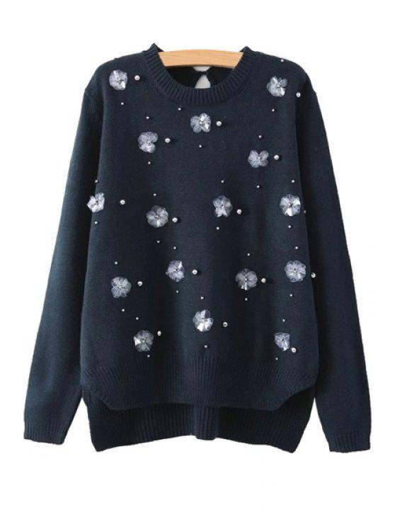 women Stereo Flower Long Sleeve Beaded Sweater - BLACK S