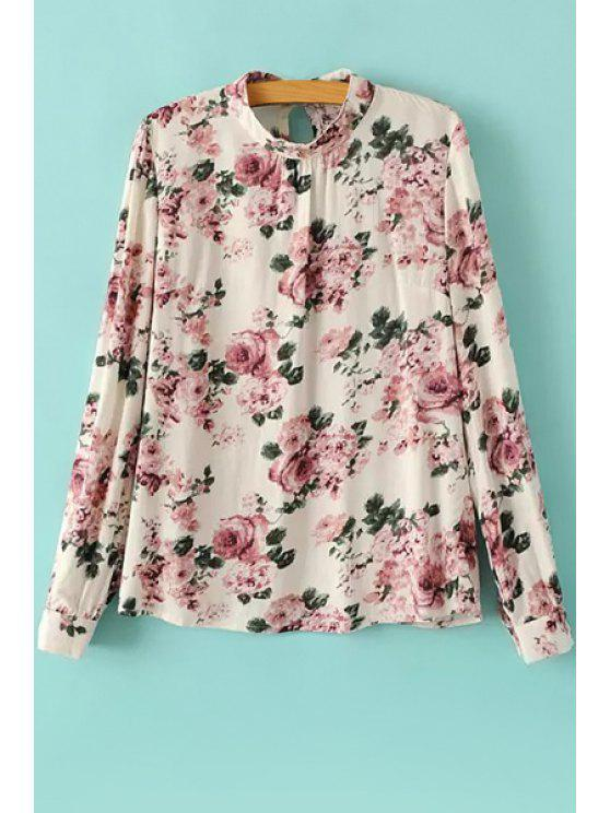 sale Floral Print Long Sleeve Blouse - PINK AND WHITE S