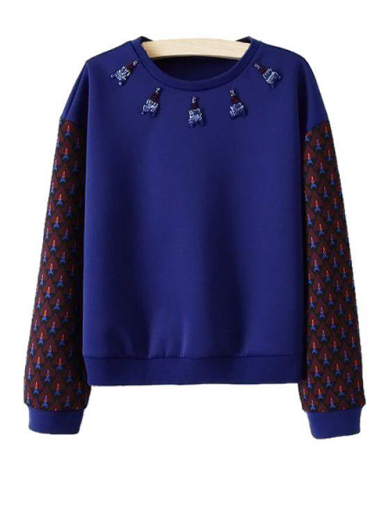 latest Print Long Sleeve Beaded Sweatshirt - DEEP BLUE S