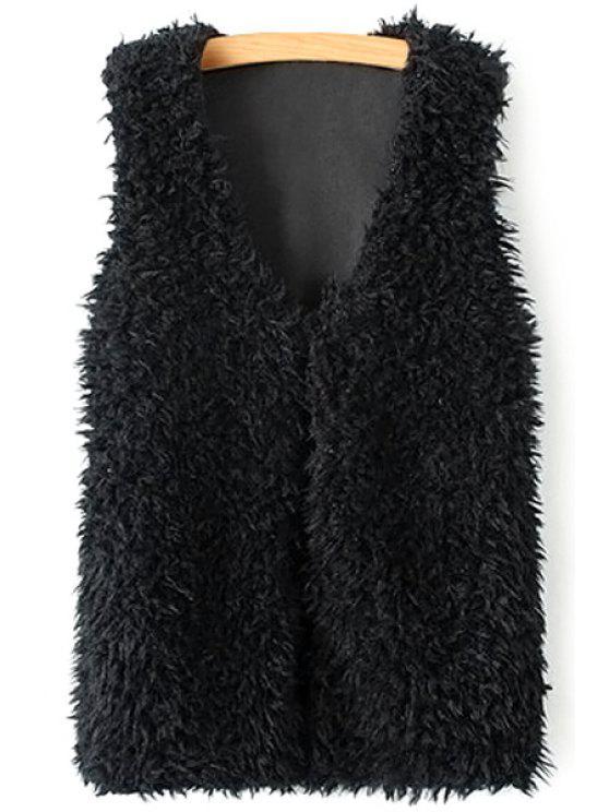 buy Lamb Wool V-Neck Sleeveless Waistcoat - BLACK S