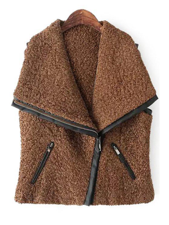 shops Splicing Sleeveless Zipper Waistcoat - BROWN S
