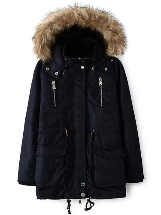 latest Solid Color Faux Fur Hooded Coat - CADETBLUE L
