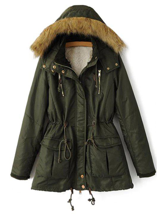 fancy Solid Color Faux Fur Hooded Coat - GREEN M