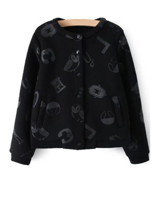 sale Letter Print Long Sleeve Jacket - BLACK S