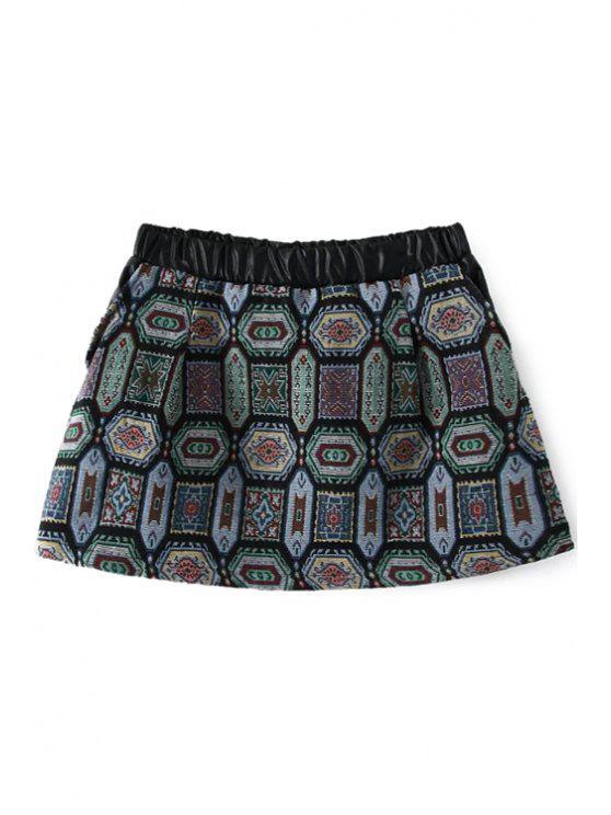 trendy Ethnic Pattern A-Line Skirt - GREEN M