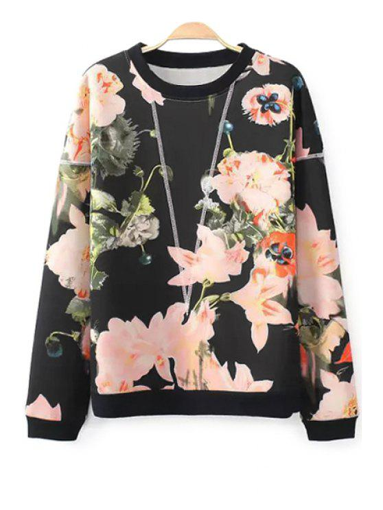 chic Floral Print Long Sleeve Sweatshirt - BLACK S