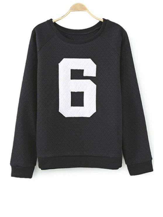 sale Number Print Long Sleeve Sweatshirt - BLACK S