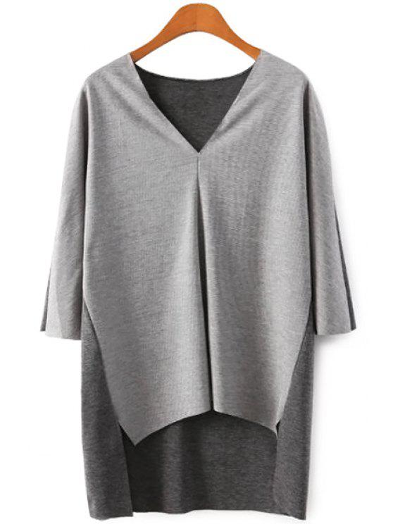 lady Color Block V-Neck 3/4 Sleeve Knitwear - GRAY S