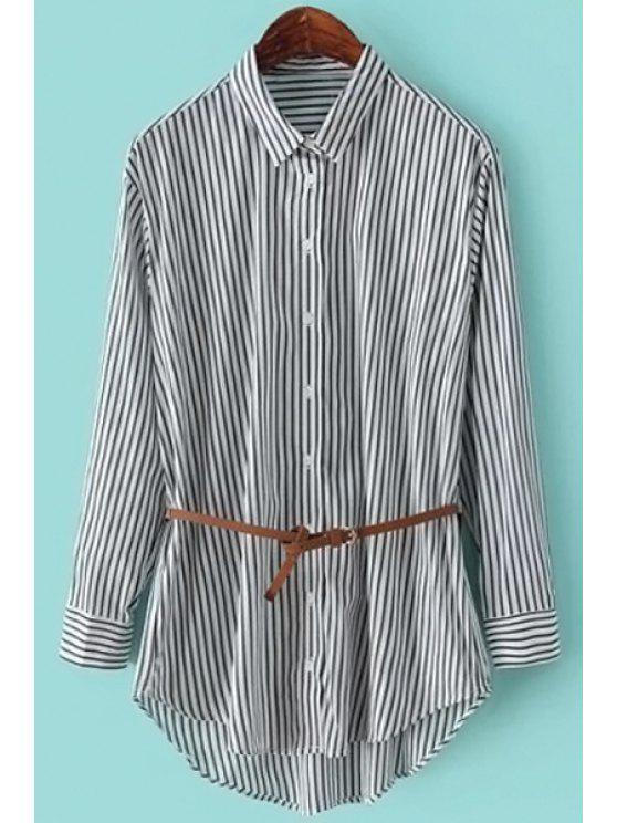 womens Striped Shirt Collar Long Sleeve Shirt - WHITE S