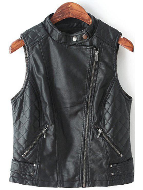 outfit Black Stand Collar PU Leather Waistcoat - BLACK S