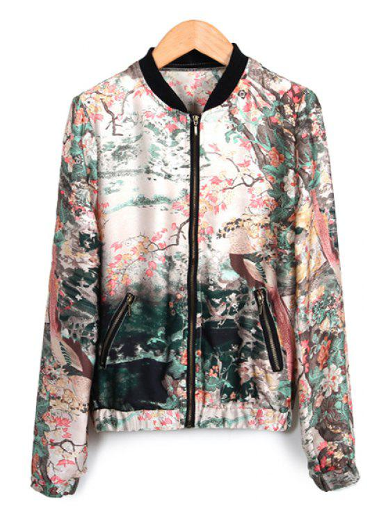 online Floral Print Stand Collar Jacket - COLORMIX S