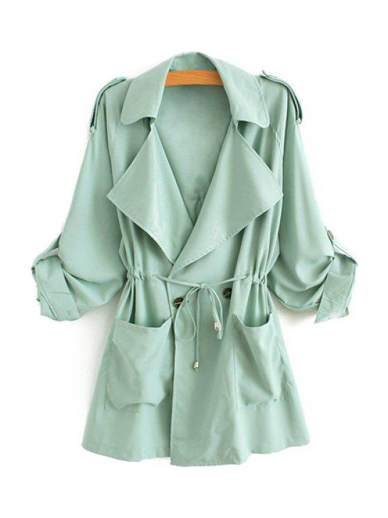 womens Solid Color Lapel Long Sleeve Trench Coat - GREEN L