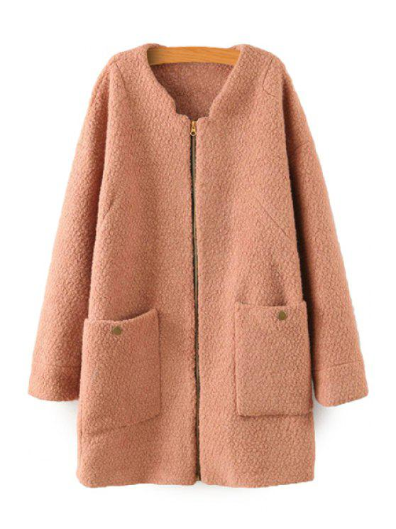 outfits Solid Color Long Sleeve Coat - CAMEL M