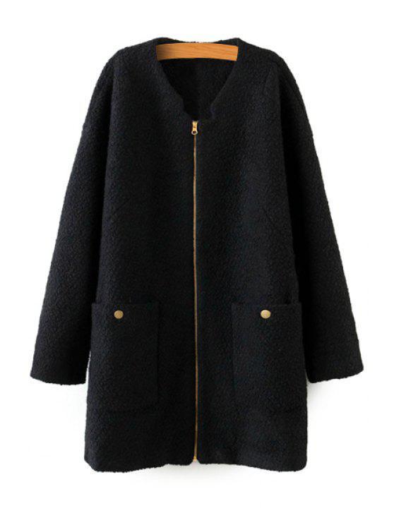 unique Solid Color Long Sleeve Coat - BLACK L