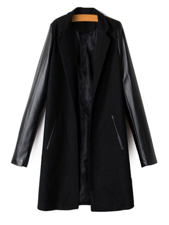 best PU Leather Spliced Long Sleeve Coat - BLACK M