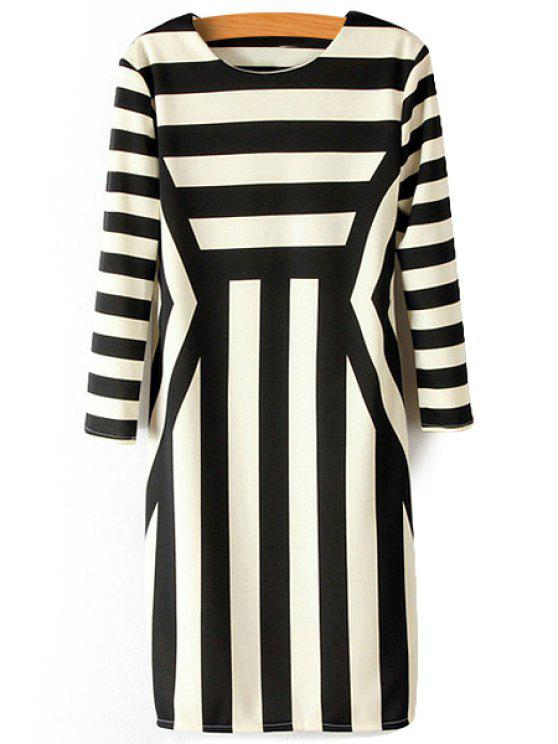affordable Striped Splicing 3/4 Sleeve Dress - STRIPE S