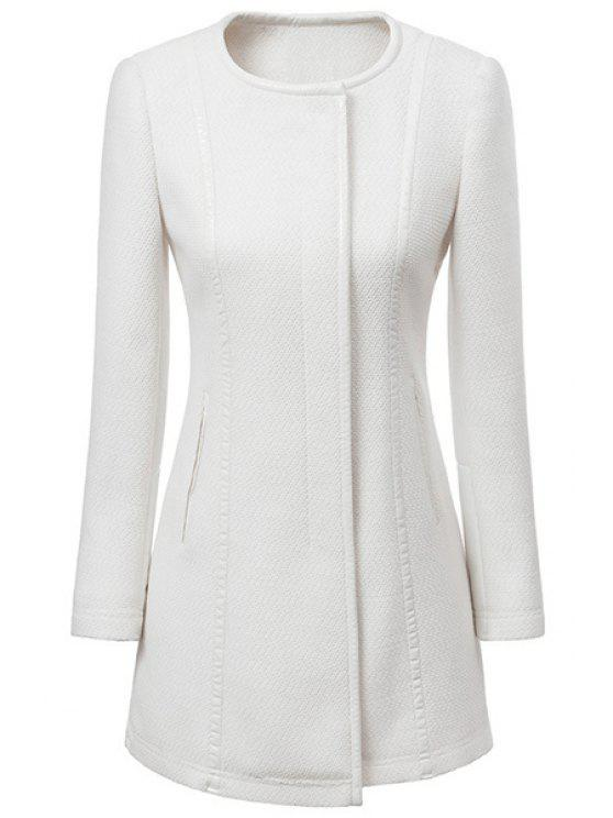 shops Solid Color Splicing Long Sleeve Coat - WHITE S