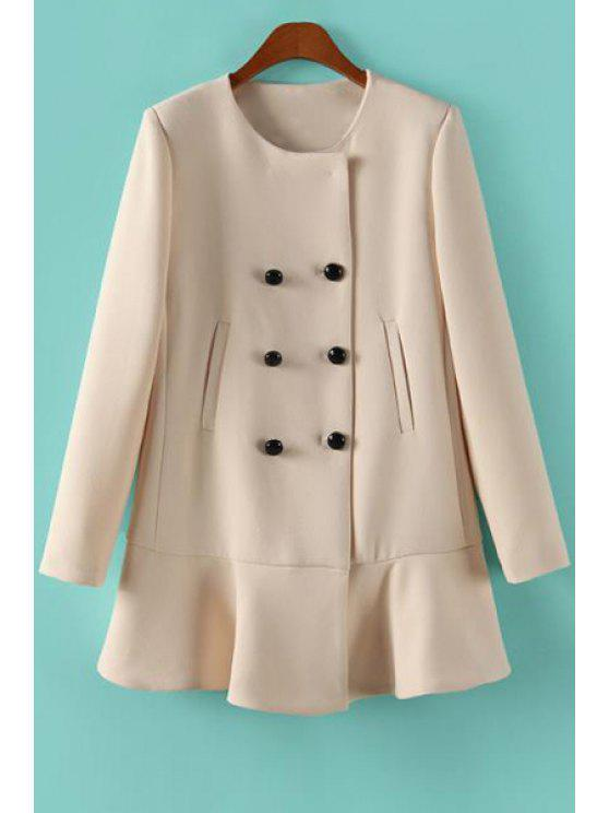 buy Solid Color Ruffles Long Sleeve Coat - OFF-WHITE S