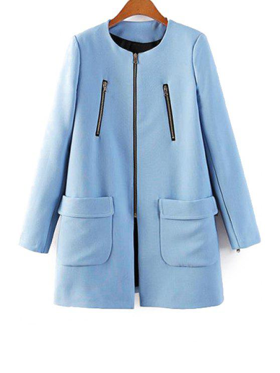 hot Blue Long Sleeve Zipper Coat - BLUE S