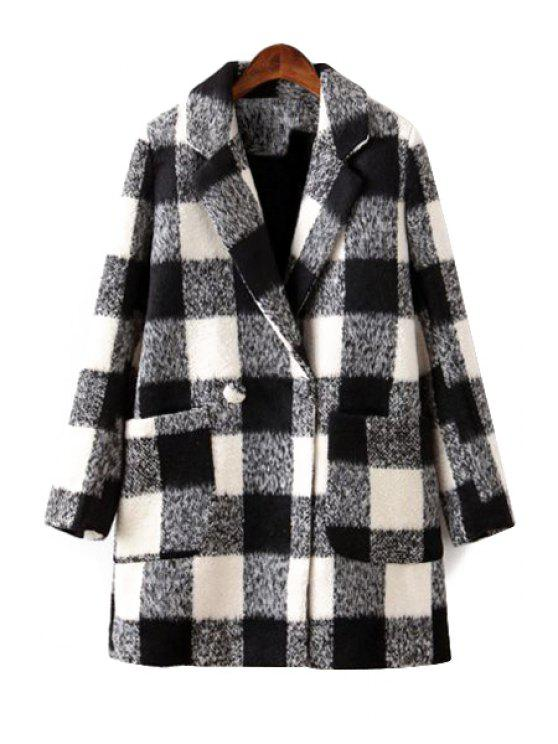 buy Plaid Lapel Long Sleeve Coat - WHITE L