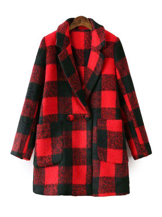 women Plaid Lapel Long Sleeve Coat - RED S
