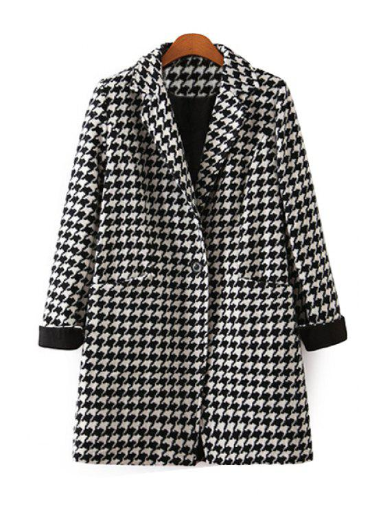 ladies Houndstooth Lapel Long Sleeve Coat - WHITE AND BLACK S