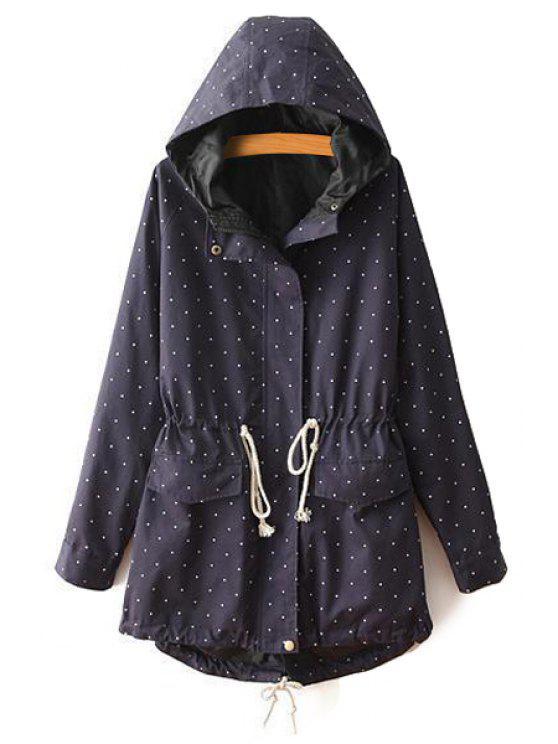 shop Polka Dot Long Sleeve Hooded Coat - PURPLISH BLUE 36