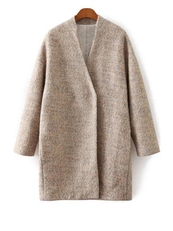 outfits Solid Color V-Neck Worsted Coat - KHAKI L