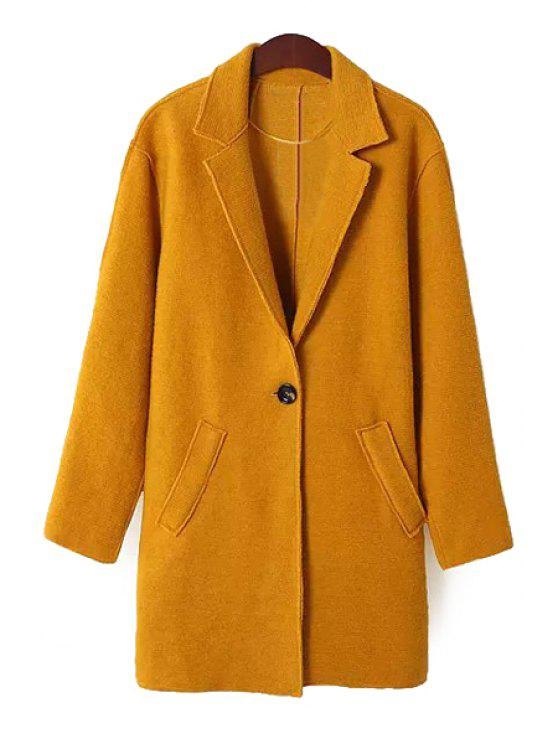 shops Solid Color Lapel Neck Coat - EARTHY S