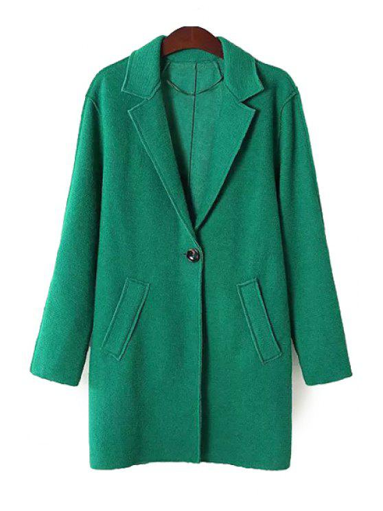 latest Solid Color Lapel Neck Coat - GREEN XL