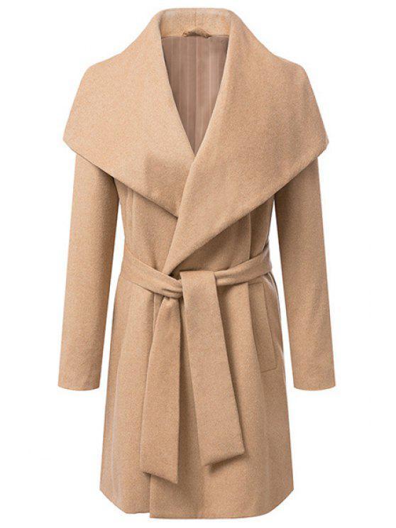 fashion Solid Color Belt Long Sleeve Coat - CAMEL L