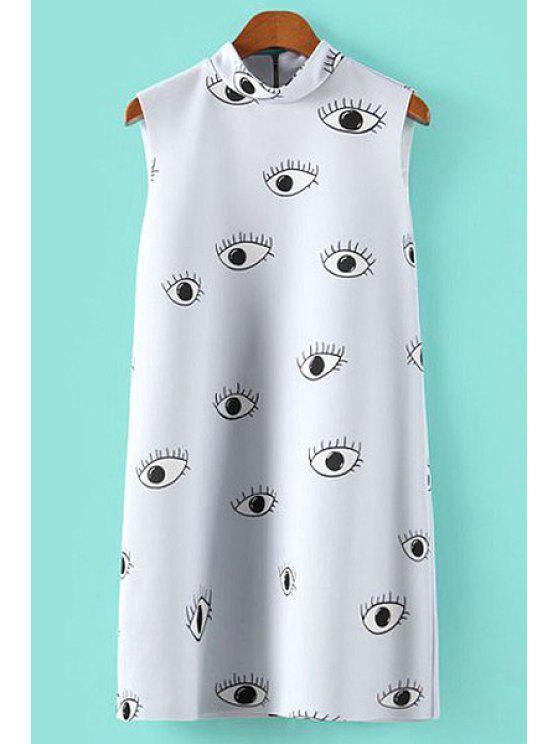 best Eye Print Turtle Neck Sundress - WHITE S