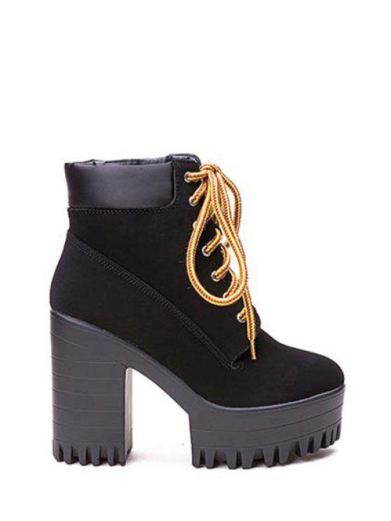 shop Simple Women's Ankle Boots With Style Chunky Heel and Lace-Up Design - BLACK 35