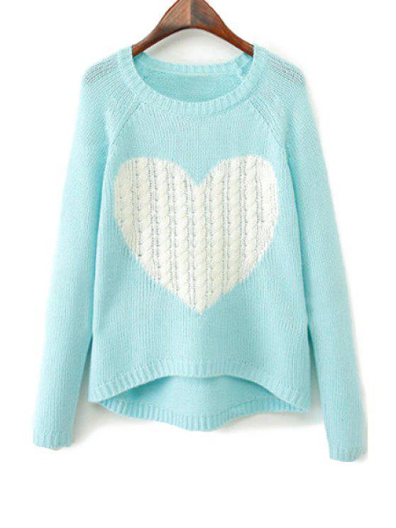chic Heart Pattern Long Sleeve Sweater - LAKE BLUE M