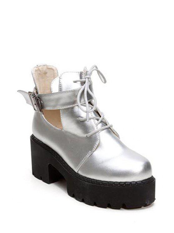 chic Trendy Women's Ankle Boots With Buckle and Hollow Out Design - SILVER 35