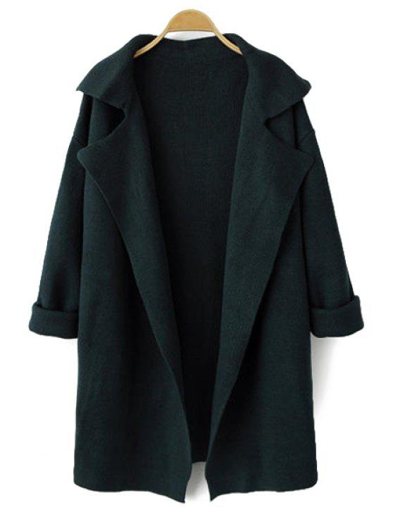 latest Solid Color Long Sleeve Lapel Cardigan - BLACKISH GREEN ONE SIZE(FIT SIZE XS TO M)