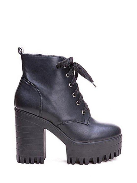 lady Simple Style Women's Boots With Chunky Heel and Platform Design - BLACK 35