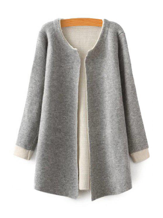 women Color Block Long Sleeve Cardigan - GRAY ONE SIZE(FIT SIZE XS TO M)